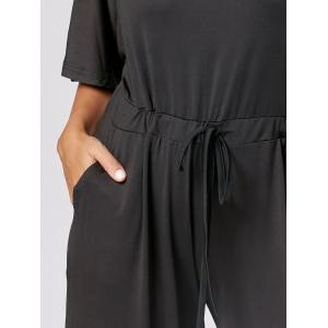Drawstring Wide Leg Maxi Jumpsuit - BLACK 2XL