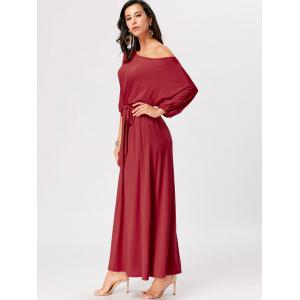 Boat Neck Maxi Party Dress - RED 2XL