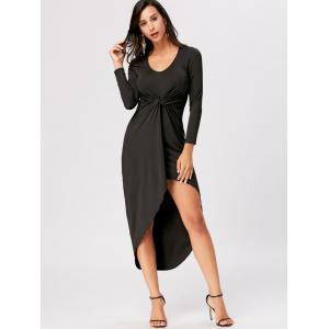 Front Knot High Low Bodycon Midi Dress - BLACK 2XL