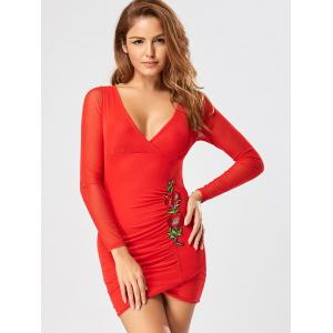 Embroidered Mesh Insert Mini Bodycon Dress - RED M