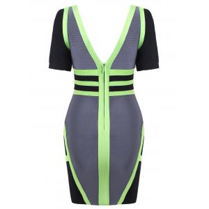 Plunging Neck Color Block Bandage Dress - GRAY S