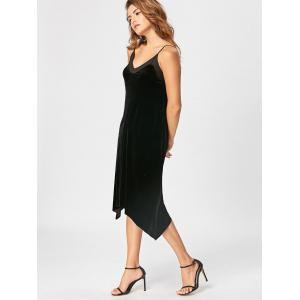 Open Back Velvet Cami Dress - BLACK M