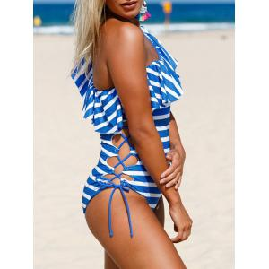 Striped Ruffle Lace Up Swimsuit - BLUE AND WHITE XL
