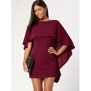 Criss Cross Cutout Backless Short Cape Dress -