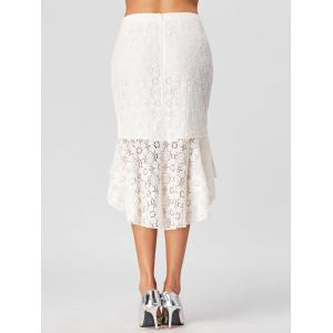 Flounce High Low Lace Skirt - WHITE M