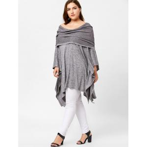 Off Shoulder Plus Size Asymmetric Tunic Top - GRAY ONE SIZE