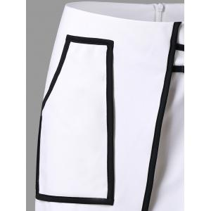 Overlap Patch Pocket Asymmetric Skirt - WHITE 2XL