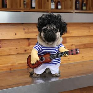 Pet Stripe Costume with Guitar Wig Jumpsuit For Dog -
