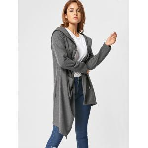 Zippered Hooded High Low Coat - DEEP GRAY M