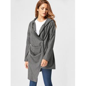 Zippered Hooded High Low Coat - DEEP GRAY L