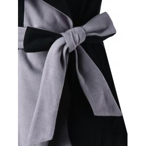Wrap Color Block Lapel Coat -