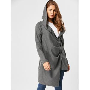 Zippered Hooded High Low Coat -
