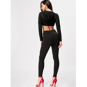 Hooded Crop Top with High Waisted Ripped Pants -