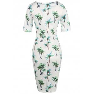 Formal Floral Ptint Bodycon Dress -