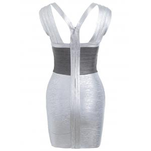 Sleeveless V Neck Metallic Bandage Dress -