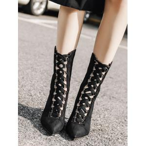 Cross Strap Pointed Toe Stiletto Mid Calf Bottes -
