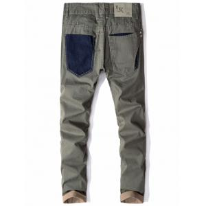 Denim Panel Straight Striped Casual Pants -