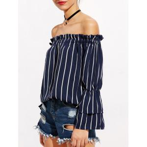 Striped Bell Sleeve Off The Shoulder Blouse -