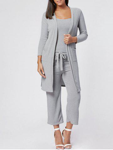 Shops Capri Pant Cami Top with Cardigan Three Piece Knit Suit GRAY S