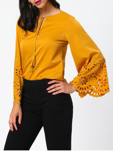 New Openwork Flared Sleeve Blouse with Tassel Drawstring