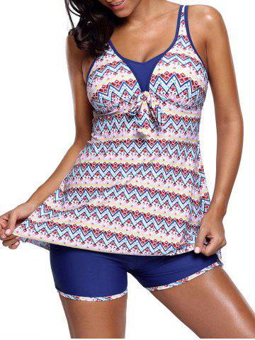 Cheap Zigzag Printed Skirted Tankini Set COLORMIX L