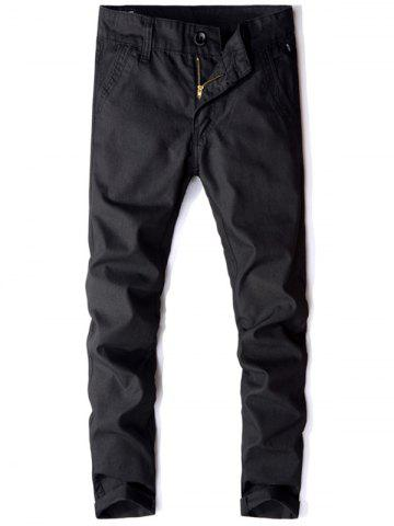 Casual Zip Fly Flap Pocket Straight Pants Noir 36