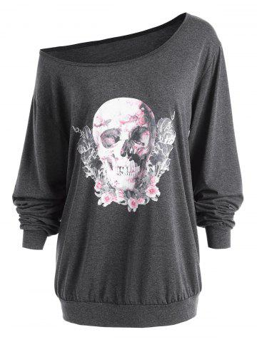 Outfits Plus Size Skew Neck Halloween Skull Rose  Tee - 5XL DEEP GRAY Mobile