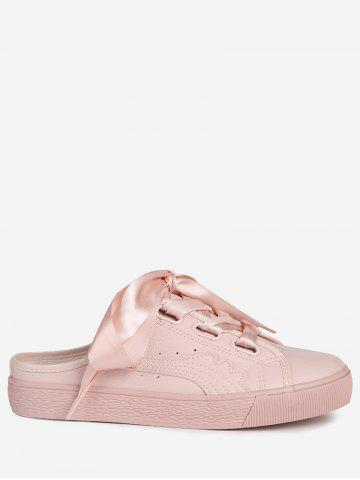 Buy Faux Leather Slip On Flat Shoes - 39 PINK Mobile