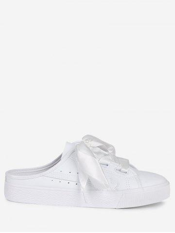 Faux Leather Slip On Flat Shoes Blanc 37