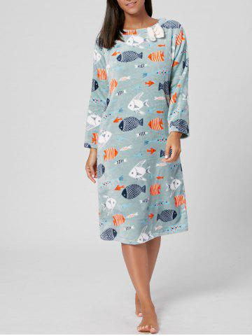 Buy Fish Print Winter Fuzzy Pajamas Dress - L CLOVER Mobile