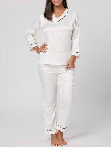 Best V Neck Satin Long Sleeve PJ Set WHITE L