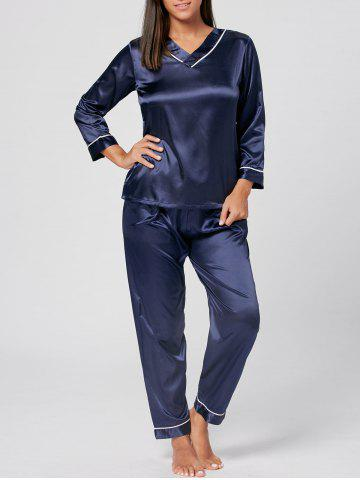 Fancy V Neck Satin Long Sleeve PJ Set PURPLISH BLUE XL