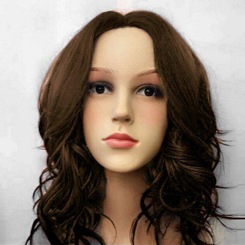 Fancy Middle Part Medium Wavy Synthetic Wig - BROWN  Mobile