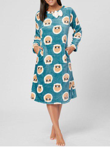 Outfit Fleece Printed Long Sleeve PJ Dress - L BLUEBELL Mobile