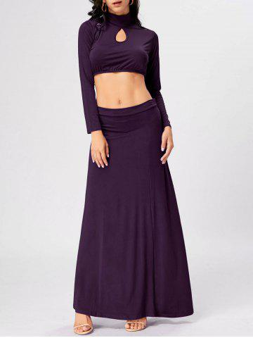Shops High Waisted Cut Out Two Piece Party Dress - 2XL PURPLE Mobile