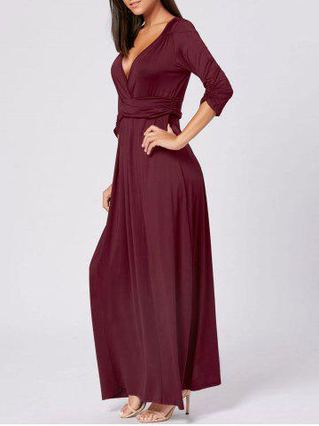 Fashion Empire Waist V Neck Long Maxi Dress WINE RED 2XL