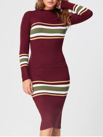 Cheap Striped Mock Neck Casual Knit Dress - ONE SIZE RED Mobile