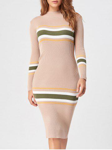 New Striped Mock Neck Casual Knit Dress APRICOT ONE SIZE