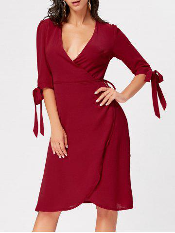 Buy Bowknot Plunging Neckline Midi Wrap Dress WINE RED S