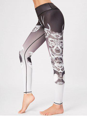 Cheap Printed High Waisted Skinny Gym Leggings COLORMIX S