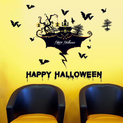 Hot Halloween Castle Bat Wall Art Stickers For Bedroom - BLACK  Mobile