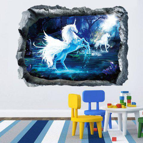 Outfit Unicorn 3D Broken Wall Art Sticker For Bedroom BLUE 50*70CM