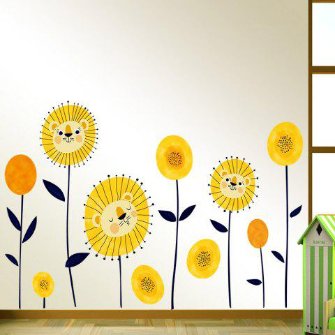 Trendy Tiger Flowers Pattern Wall Art Sticker For Bedroom - 60*90CM YELLOW Mobile