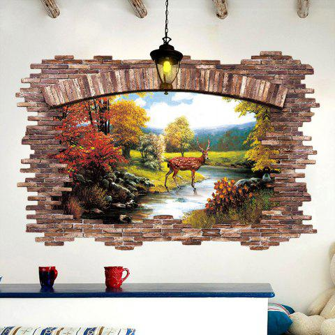 Hot Stream Deer 3D Broken Wall Art Sticker For Bedroom - 60*90CM COLORMIX Mobile