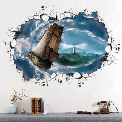 Cheap Ocean Ship 3D Broken Wall Art Sticker For Bedroom BLUE GRAY 60*90CM