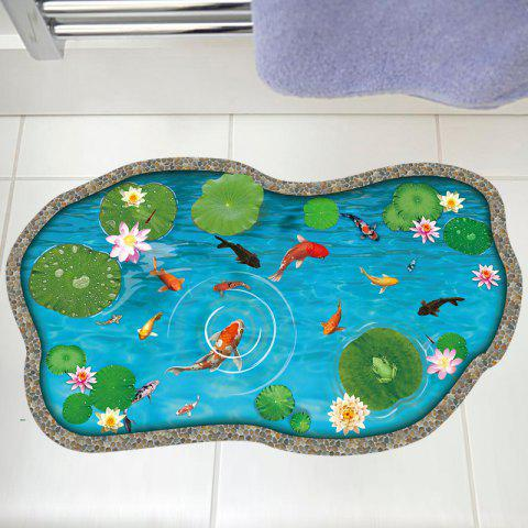 New Lotus Pond Fish 3D Floor Sticker For Bedroom LAKE BLUE 60*90CM
