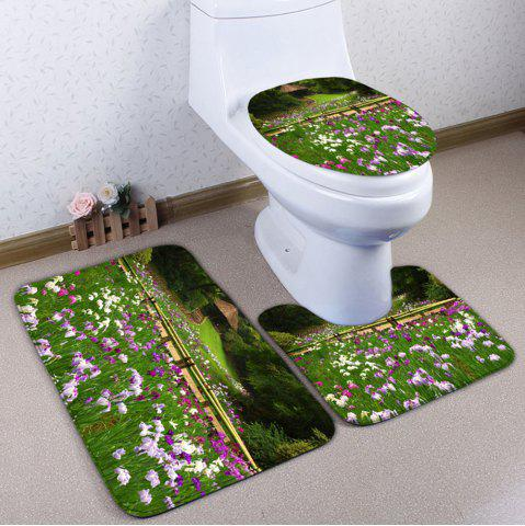 Affordable 3PCS Floral Print Flannel Bath Toilet Rugs Set - GREEN  Mobile