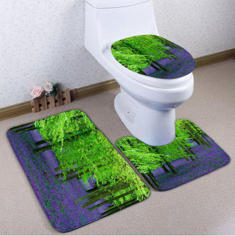 New 3Pcs Flannel Forest Print Toilet Bath Rugs Set GREEN