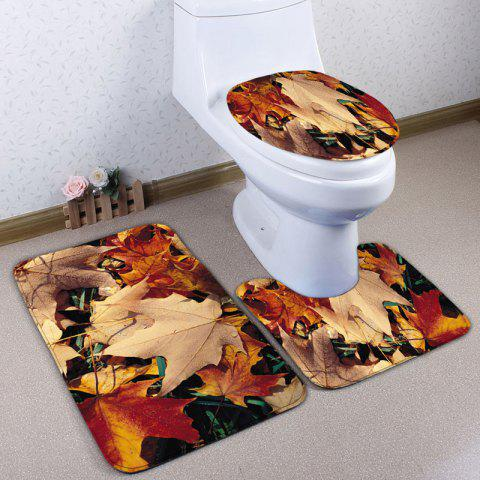Shop 3Pcs Flannel Maple Leaf Bathroom Toilet Mats Set - MAPLE LEAF  Mobile
