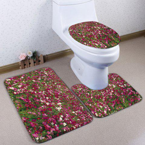 Chic 3Pcs Flannel Flower Field Bath Toilet Rugs Set
